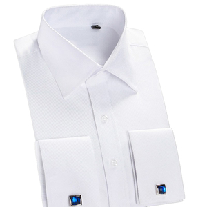 Image 2 - Классическая рубашка с французскими манжетами, однотонная саржевая Мужская рубашка для смокинга вечерние ринки и свадьбы с нагрудным карманом