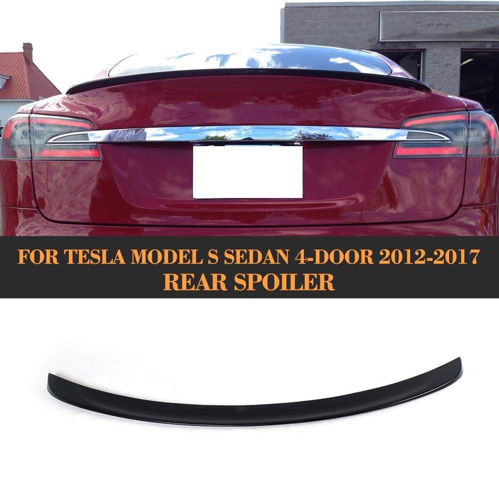FRP Unpainted Black Primer Car Trunk Lip Spoiler Wing Boot Lips For Tesla Model S Sedan