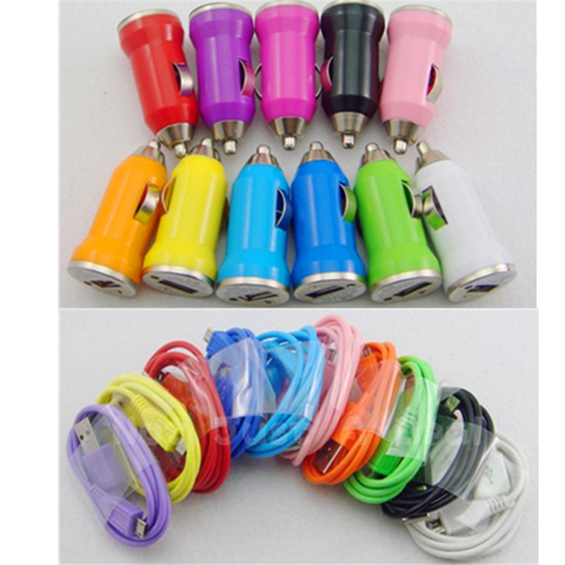 Mini USB Car Charger +Data Sync Charging micro usb Cable for Samsung Galaxy S4 For Other Android Phones