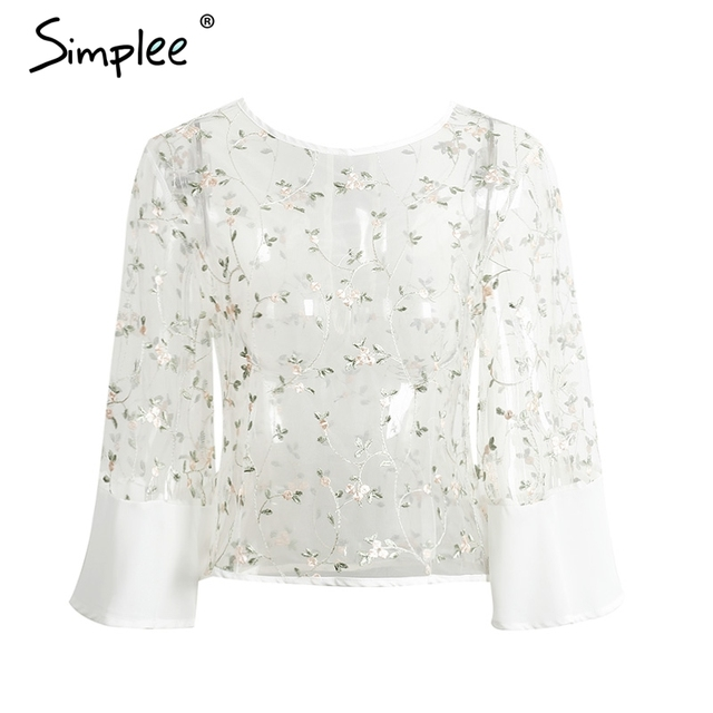 Simplee Sexy perspective white blouse women Streetwear embroidery flare sleeve chiffon blouse Casual summer party blusas tops
