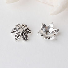 solid 925 sterling silver Leaves bead cap,Thai Silver spacer bead caps,jewelry diy silver findings/components(China)