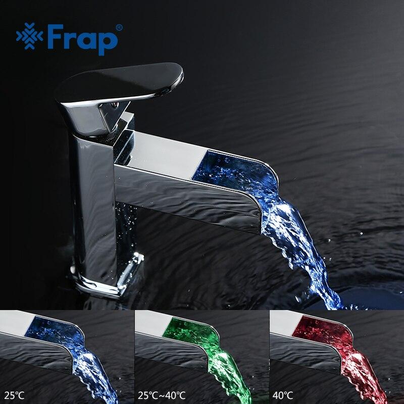 Здесь можно купить  FRAP  bath Basin Faucet Waterfall LED waterpower Electricity generation Luminescence Water sink tap mixer For Bathroom FLD3919  Строительство и Недвижимость