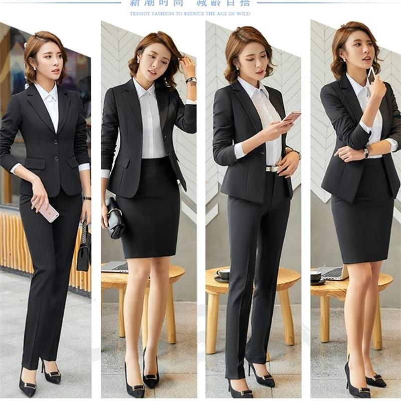 Women Office Skirt Suit Plus Size 4XL2018 Slim OL Elegant Ladies 2 Piece Set Suits For Work Autumn Female Business Suits