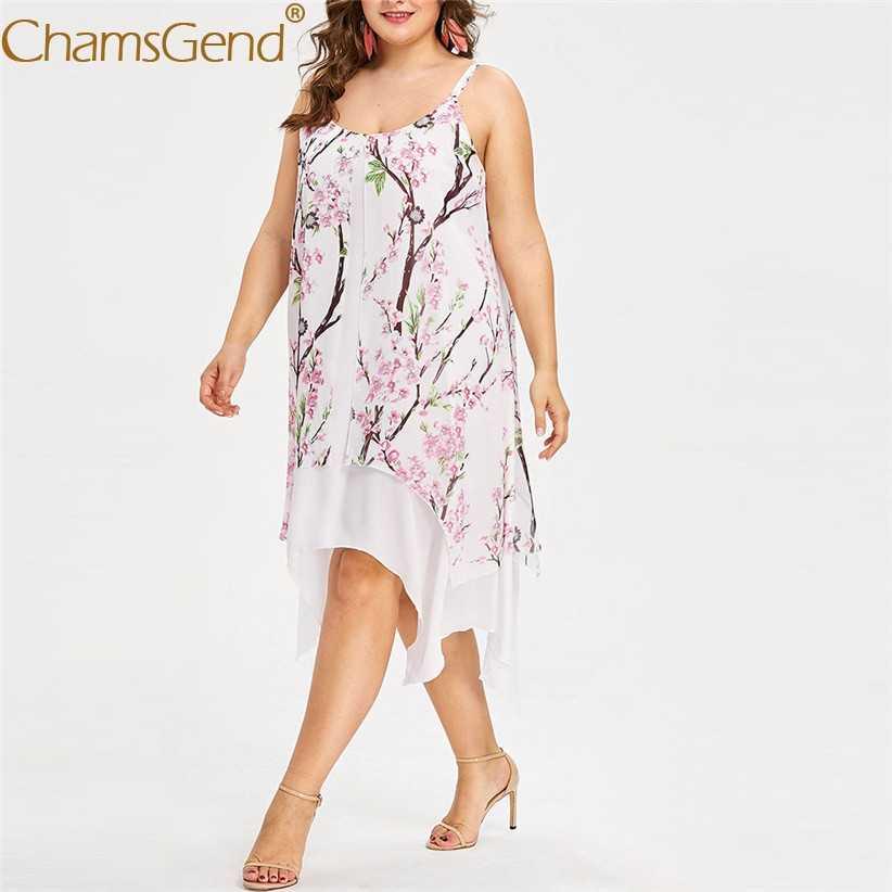 꽃 프린트 여성 strappy camis 시폰 드레스 레이디 민소매 여름 휴가 해변 파티 드레스 플러스 사이즈 2xl, 3xl, 4xl, 5xl 90514