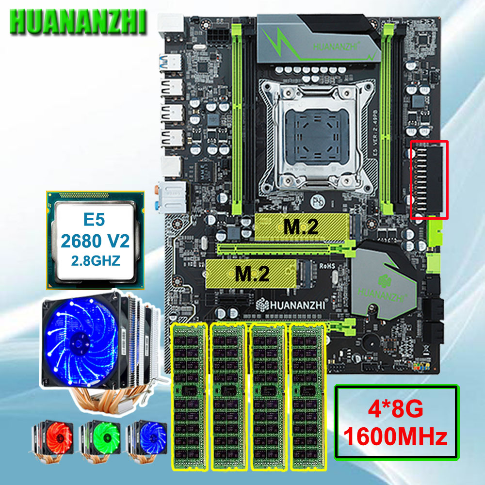 Discount HUANANZHI X79 Pro motherboard bundle brand motherboard with DUAL M.2 slot CPU Xeon E5 <font><b>2680</b></font> V2 with cooler RAM 32G(4*8G) image