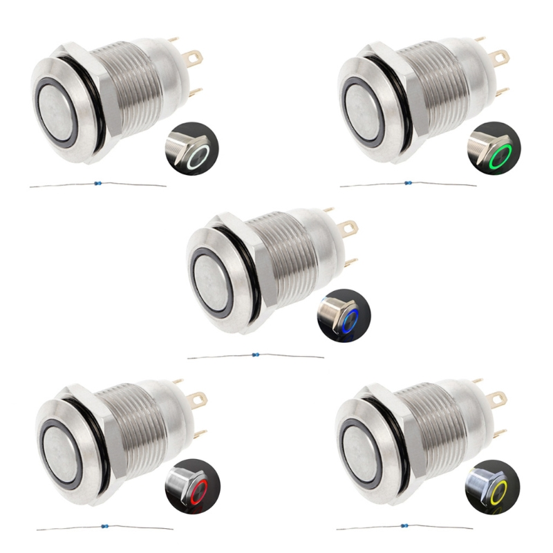 Home Appliances 12mm Led Illuminated Metal Momentary Push Button Switch Boat Car 3a/220v Dc An Enriches And Nutrient For The Liver And Kidney