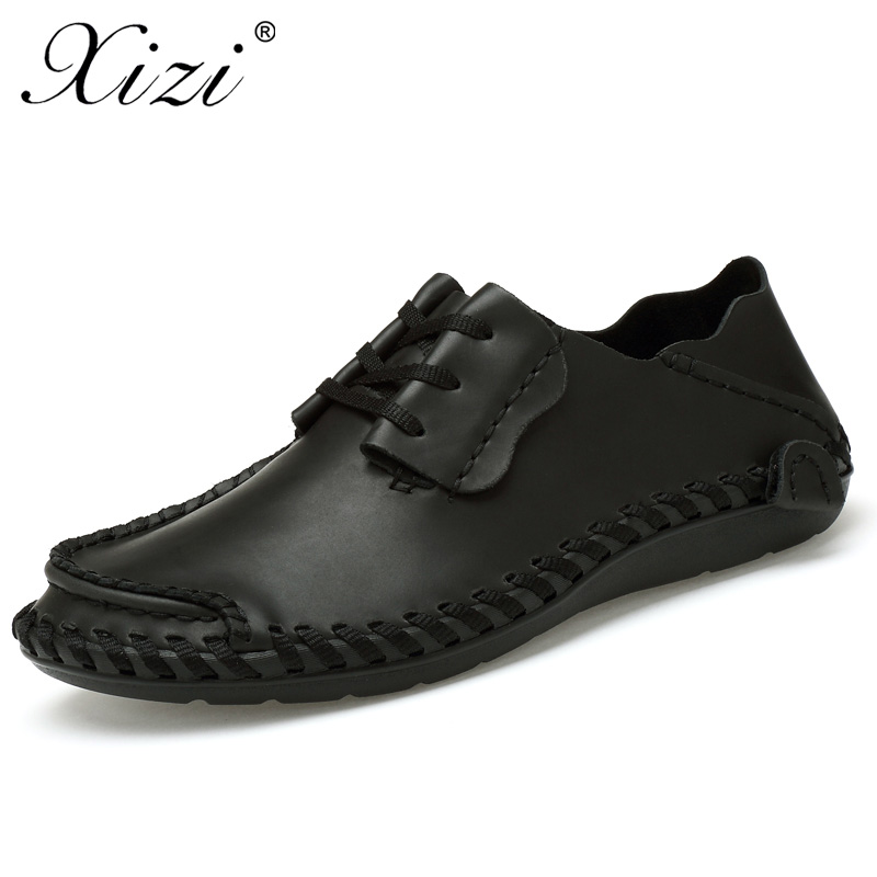 XIZI Men Genuine Leather Casual Shoes Handmade Shoes Breathable Flat Shoe Lace up Outdoor Oxfords moccasins shoes Big size 38-48 high quality genuine leather men shoes lace up casual shoes handmade driving shoes flats loafers for men oxfords shoes