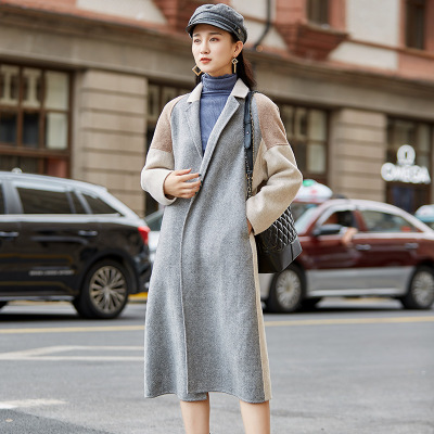 Automne Picture Hiver Vêtements Long Patchwork Femmes Manteau Laine Femme 2018 100 Feminino Vestes Mode Gc592 Color Tinteen Casaco Double OxWwYTn