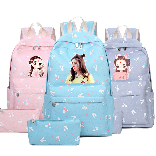 dcd0b7c9c8a2 2018 Dilraba Dilmurat China star new fashion backpack for students Printing Canvas  School Bags Travel Bag