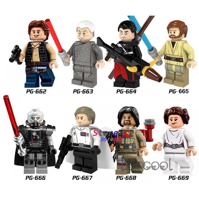 1PCS blocos de construção do modelo starwars Han Solo Palpatine Chirrut Imwe Lorde sith Obi Wan Orson Baze Leia brinquedos para presente das crianças