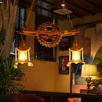 American country living room bamboo pendant light antique vintage kerosene lantern droplight bar bedroom lamp