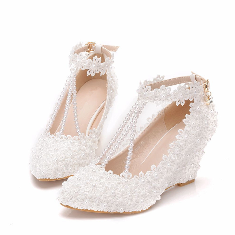 Woman Shoes Wedges Heels Wedding Bridal Crystal Bride Bridesmaid Lady Evening Prom Party Dress Pumps White Pumps  XY-A0313