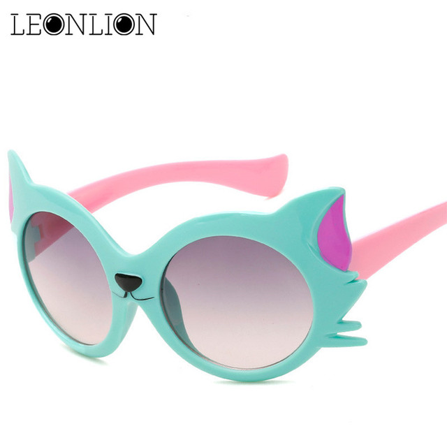 LeonLion 2019 New Cartoon Fox Sunglasses Children Travel Outdoor Silica Gel Sun Glasses Candy Color Goggles Oculos De Sol