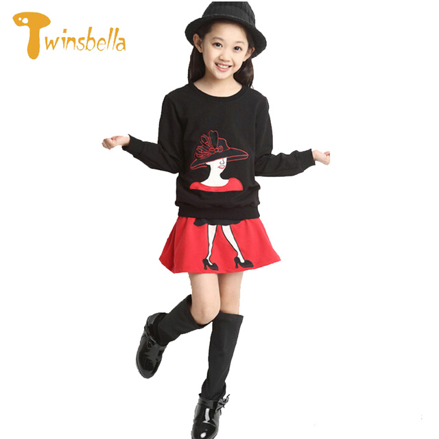 TWINSBELLA Princess Girl Clothing Set 2017 New Spring Children 2PCS Set Long Sleeve Shirt+Skirt Kids Girls Cartoon Clothes Sets