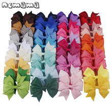 20-40pcs Colors 3inch Solid Grosgrain Ribbon Bows WITH Clip Girls' Boutique PinWheel Hair Clip Kids Hair Accessories цена