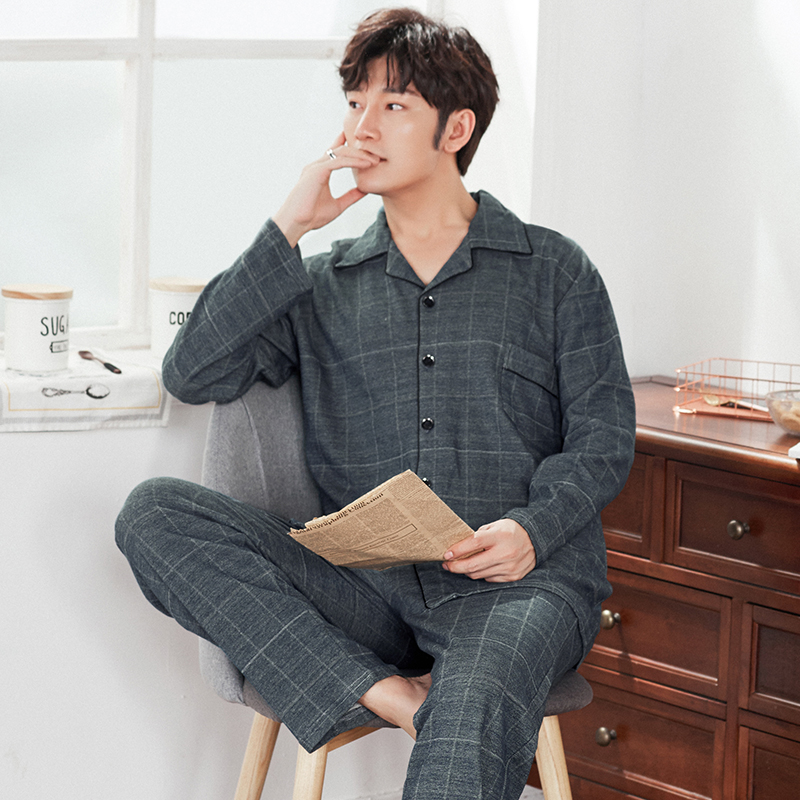 J&Q New Men's Pajama Set Cardigan Lapel Pijamas Cotton Plaid Home Clothing Long Sleeve Male Home Wear Stylish Brand Pajamas Suit