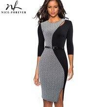 Güzel sonsuza kadar Vintage kontrast renk Patchwork çalışmak vestidos O boyun parti Bodycon ofis iş kadın elbise B478