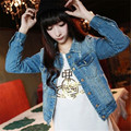 Calças de Brim das mulheres Manga Longa Ocasional Senhora Jaqueta Jeans Fino Casaco Curto Outerwear S-XL