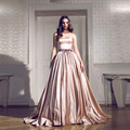 Don's Bridal Brand New Champagne Dresses Backless Off Shoulder Strapless Long Evening Dress Sleeveless Vestidos De Festa