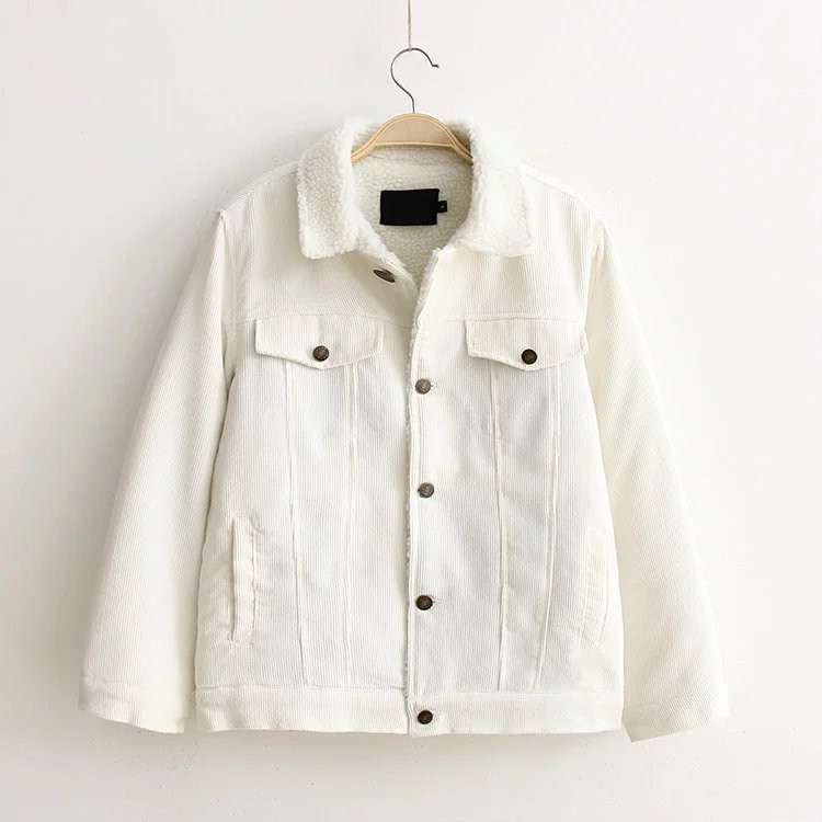 ФОТО women winter coat lampwool thick jacekts white ladies casual corduroy cotton outwear new 2016 loose overcoat big plus oversize