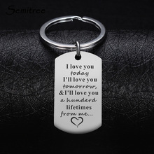Semitree 1Pc Stainless Steel Key Ring I Love You Forever for Lover Couples Gifts Boyfriend Girlfriend Car Key Ring Accessories