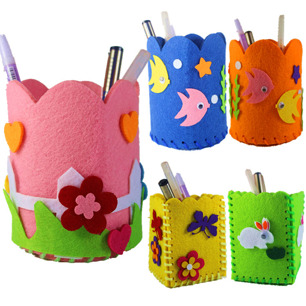 DIY Craft Kit Cute Creative Handmade Pen Container DIY Pencil Holder Kids Craft Toy Kits Educational