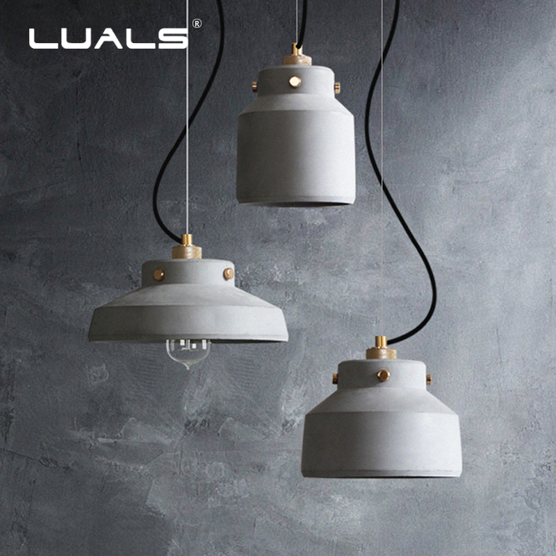 Nordic Pendant Lamp Cement Retro Pendant Lights American Suspension Luminaire Indoor Art Deco Lighting Edison Light Fixtures eiceo nordic ancient art cement resin creative pendant lamp minimalist retro cement lampshade for indoor cafe bars decor light
