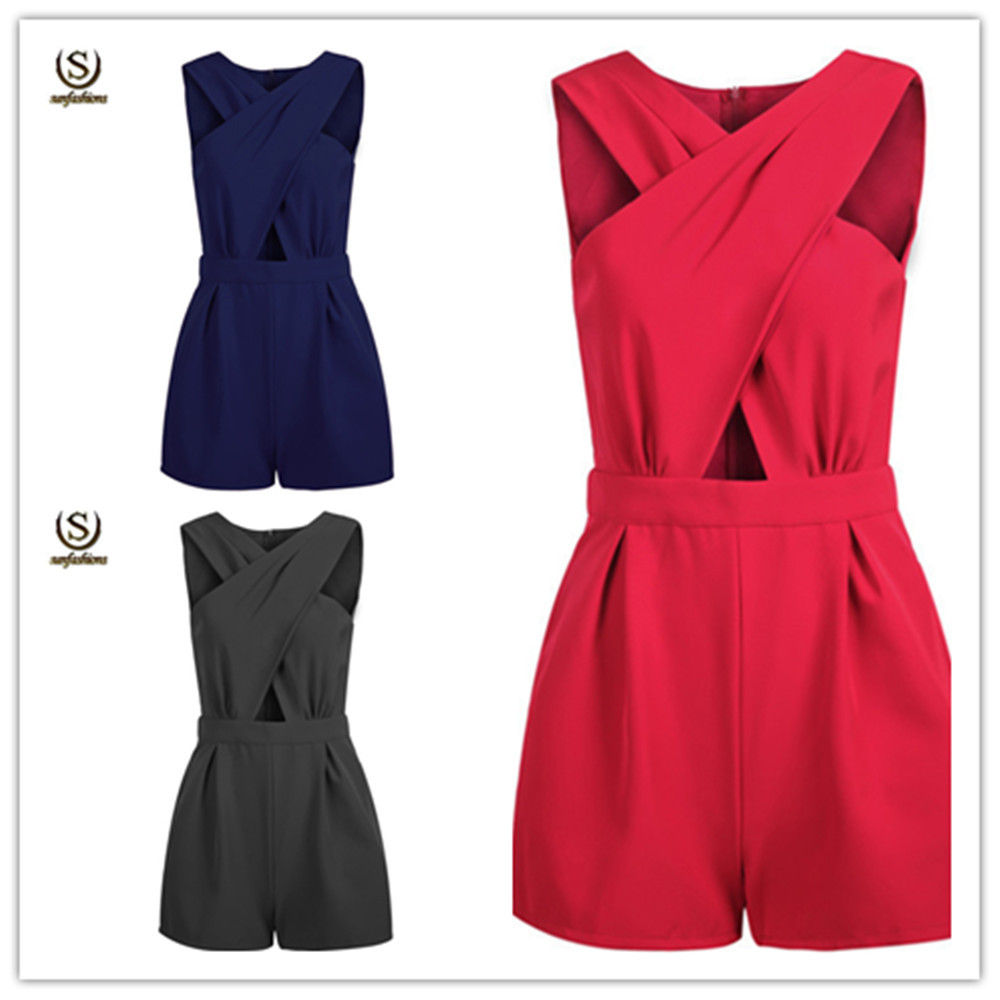 Shorts Solid Front Cross Sleeveless Cotton Woman Jumpsuits Sexy Hollow Out Rompers Casual Clothes Stomacher Type Playsuits Hot