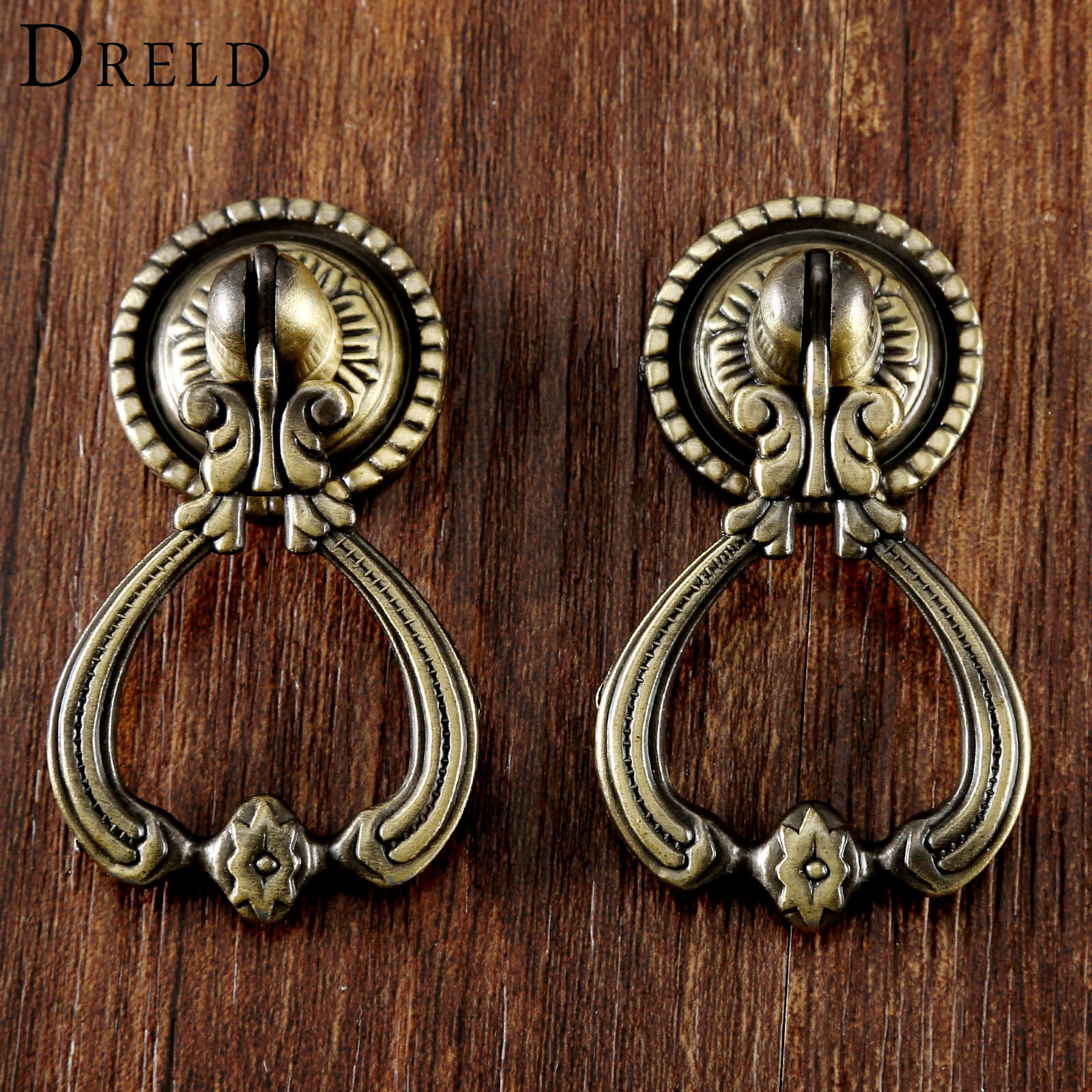 DRELD 2Pcs Antique Brass Furniture Handles Vintage Cabinet Knobs and Handles Door Closet Cabinet Drawer Pull Handle for Kitchen 1 pair 96mm vintage furniture cupboard wardrobe handles and knobs antique bronze alloy kitchen cabinet door drawer pull handle