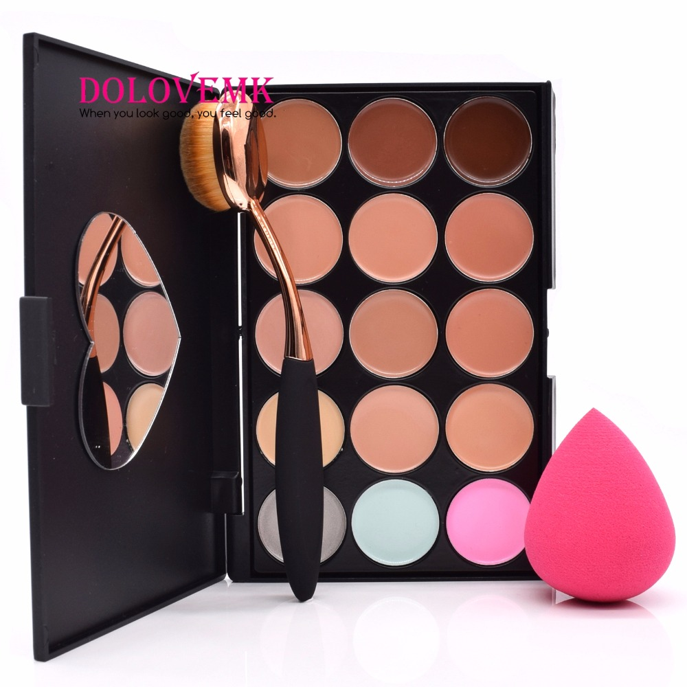 Dolovemk Pro Contour Palette Makeup Set Face Concealer 15 Colors + Oval Brush+ Egg Blending Makeup Sponge makeup sponge 5 pcs
