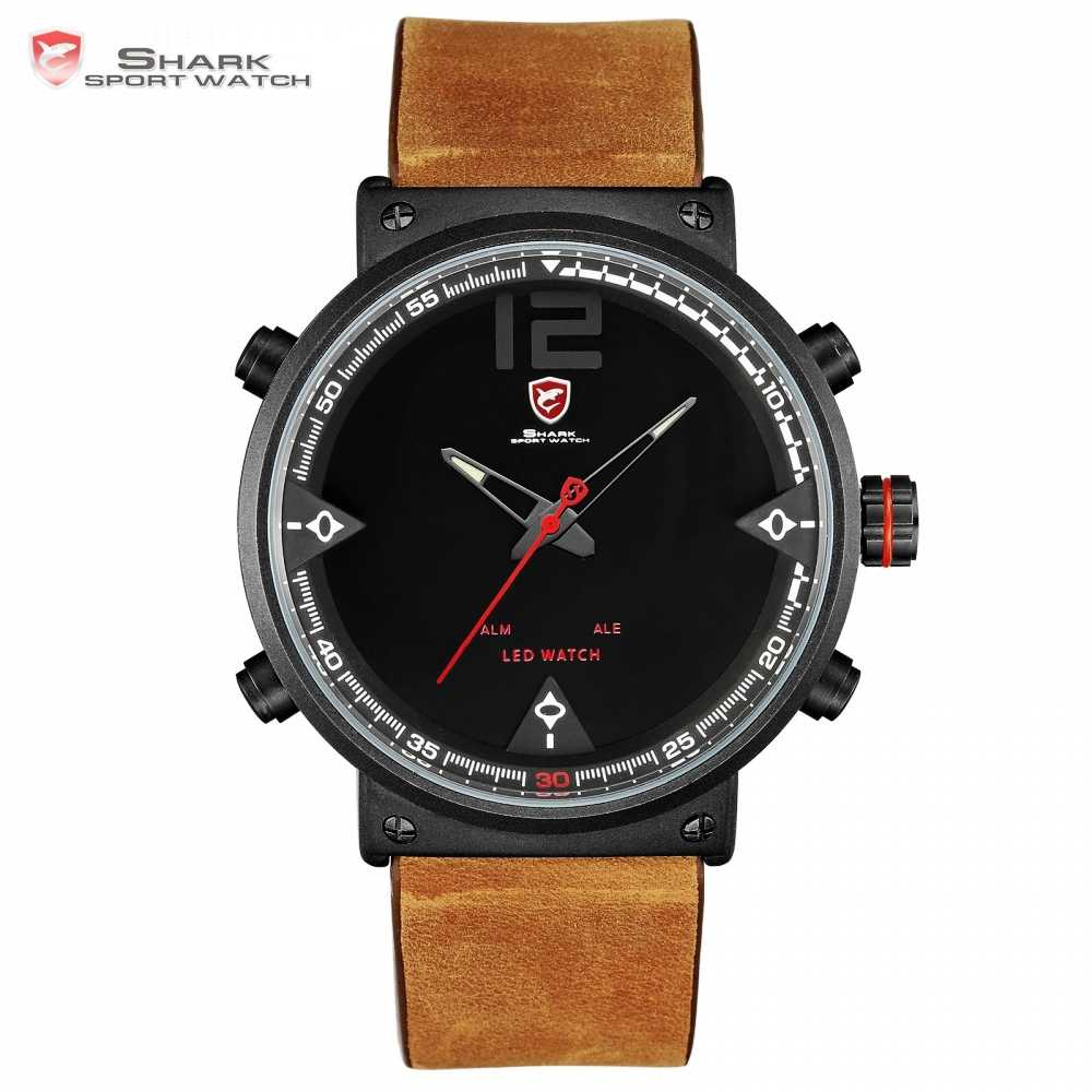 Bluegray Carpet Shark Sport Watch Black Men's Quartz Digital Analog LED Military Brown Leather Watches Relogio Masculino /SH546