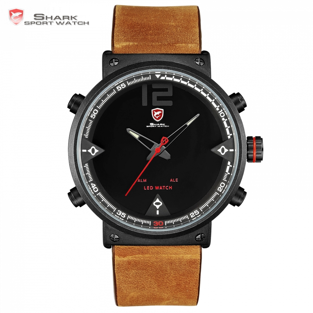 Bluegray Carpet Shark Sport Watch Black Men's Quartz Digital Analog LED Military Brown Leather Watches Relogio Masculino /SH546 шейкер sport elite sh 300 850ml black