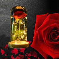 Artificial LED Light Eternal Rose Flowers Wooden Base with Glass Cover Vacuum Red Rose Valentines Day Gift Wedding Decorations