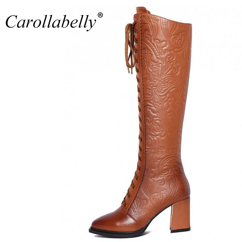 Genuine Leather Mid Calf Knee High Boots,6CM High Heels Lace Up Boots High Quality,Retro Carved Autumn Winter Boots Warm double buckle cross straps mid calf boots