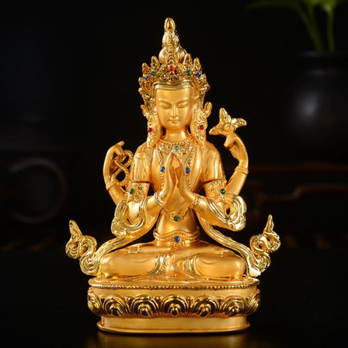Tibet Tibetan Buddhism Buddhist Gild Four Armed Guan Yin Kwan Yin Buddha Statue