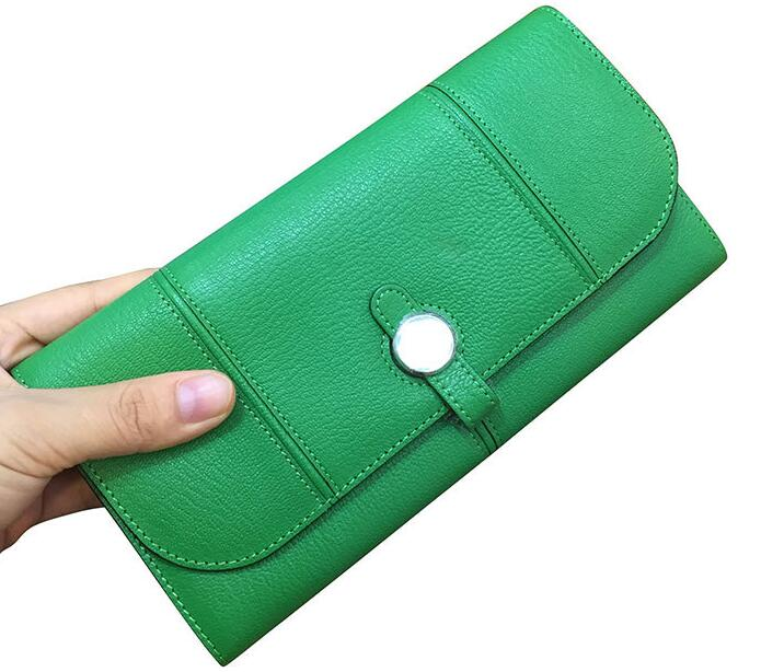 Genuine Leather Sheep Skin Women Long Purse Round Button Coin Pocket