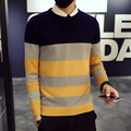 New 2016 autumn casual color blocked striped pullover men slim fit knitted sweater pull homme men's clothing size m-5xl TTS4-1