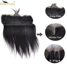 Ross Pretty Remy Brazilian Straight Human Hair Lace Frontal Pre plucked Closure 13x4 With Baby Middle/Free/Three Part
