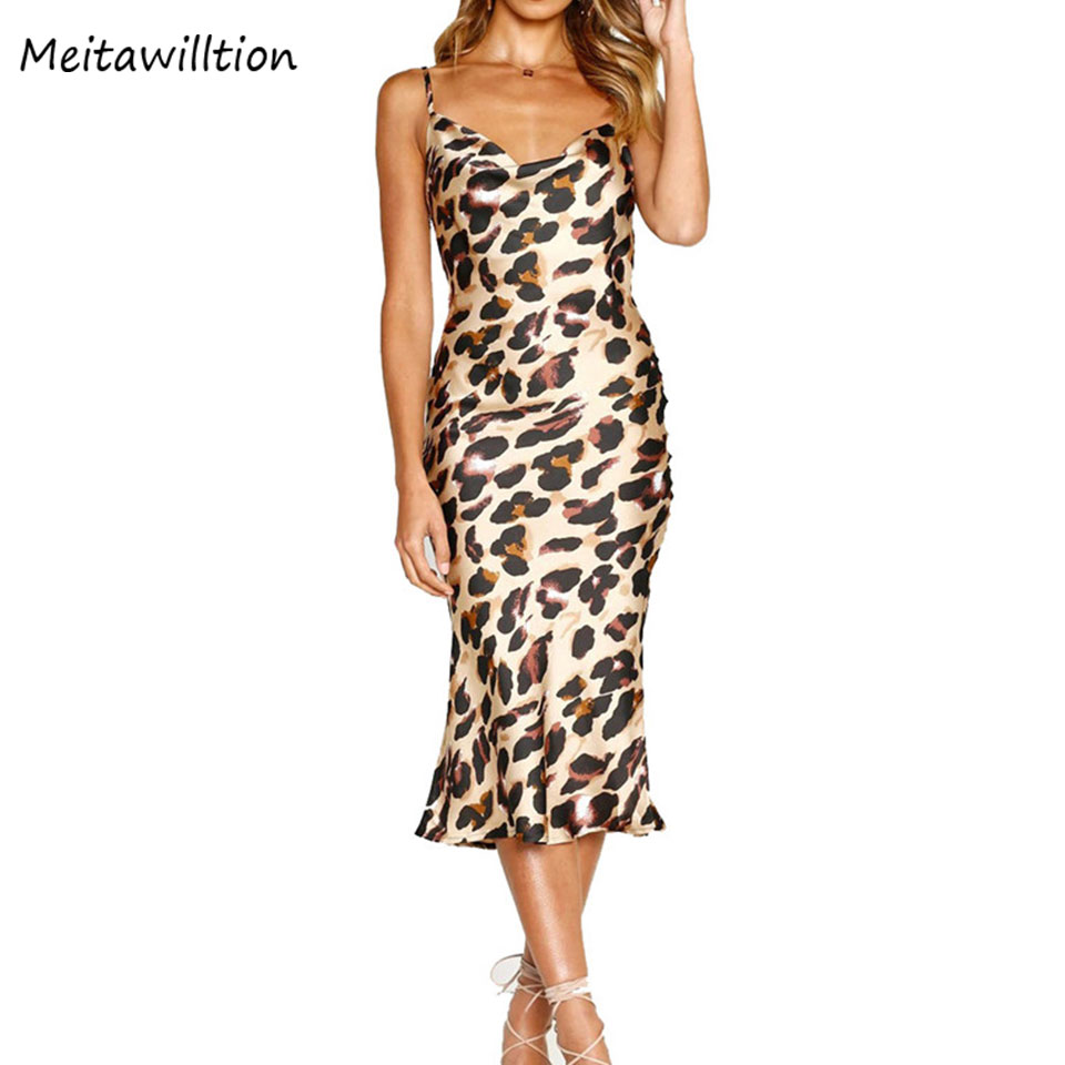 Selfless Summer Leopard Pring Female Midi Dress 2019 Spring Spaghetti Strap Women Party Dress Casual Sexy Ladies Backless Dresses Regular Tea Drinking Improves Your Health Dresses