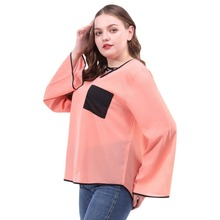 Fashion womens tops and blouses Casual Tops Women Loose Blouse Color Block Long Sleeve Plus Size Chiffon