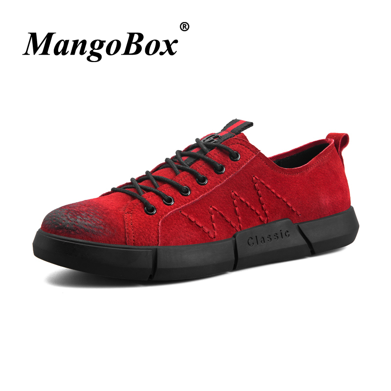 Spring/Autumn Adult Boy Casual Shoes Rubber Soles Casual Sneakers Black Red Suede Leather Mens Fashion Footwear Best Male Shoe