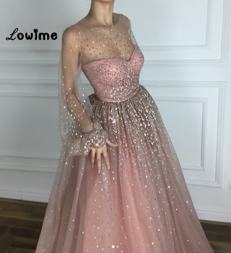 Pink   Prom     Dresses   A-line Evening   Dresses   Large Sizes Illusion Tulle Sequined Long Sleeves Party Gown 2018 Vestido De Festa Longo