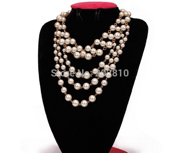 Mode 2019 tipe baru gadis-gadis manis 5 lapisan kalung mutiara, & Perhiasan, Warna emas panjang, 50 cm kalung, Kualitas yang baik