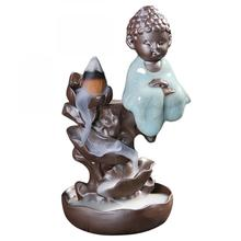 Small Buddha Ceramic Backflow Incense Burner Lotus Flower Smoke Waterfall Incense Holder Incense Crafts For Buddhist Home Decor коваль т транспорт фотокнига