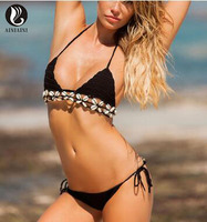 Đen Trắng Sexy Phụ Nữ Dệt Kim Crochet Dây Miễn Phí Bikini Shell Tassel Strings Đồ Tắm Thời Trang Bãi Biển Biquini mulher pd87
