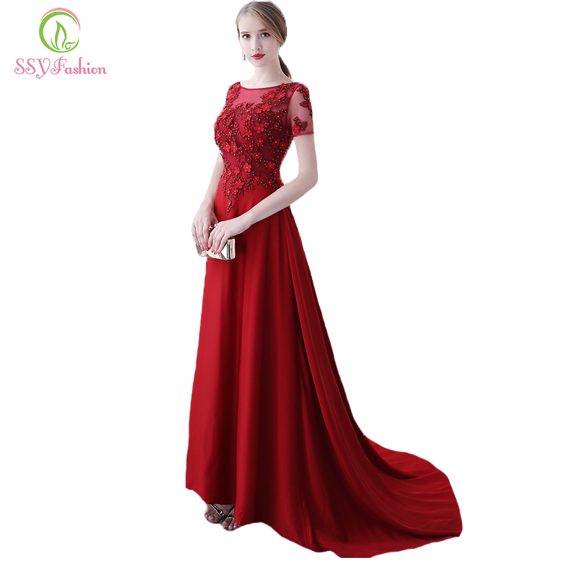 SSYFashion New Luxury Satin Long Evening Dress The Bride Elegant ... e0cd6184d12b