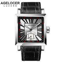 AGELCOER Swiss Men Wrist Watch Square Water Sport Watches 5ATM Waterproof Genuine Leather Clock Male Automatic