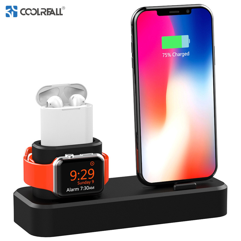 Coolreall Charging <font><b>Dock</b></font> Holder 3 in 1 Apple Watch Silicone charging stand <font><b>Dock</b></font> <font><b>Station</b></font> Charger For <font><b>iPhone</b></font> X XR XS Max 8 7 6 image