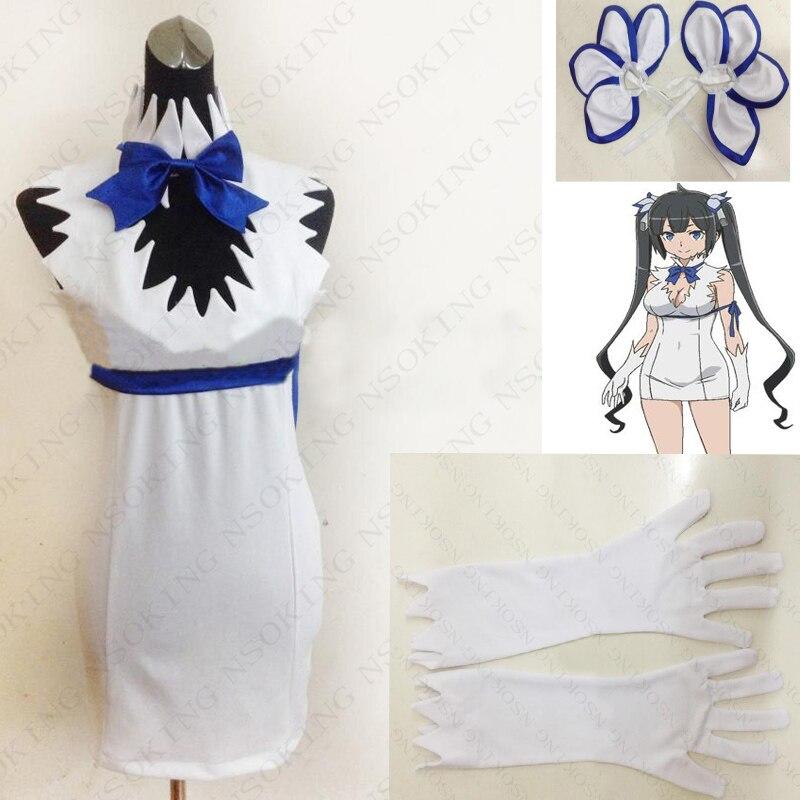 Anime est-il faux d'essayer de ramasser des filles dans un donjon? Robe de Costume Hestia Cosplay + cravate + gants + couvre-chef