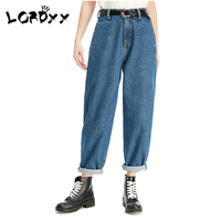 LORDXX Blue Boyfriend jeans for women 2018 High waist Loose denim 100 Cotton Mom Jeans Pockets Pants femme korean fashion